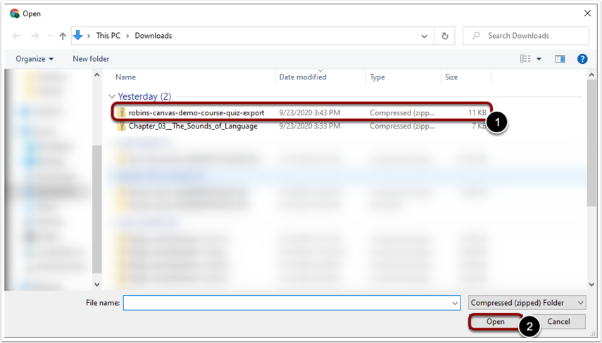 Select the file you previously downloaded via Export and click open.