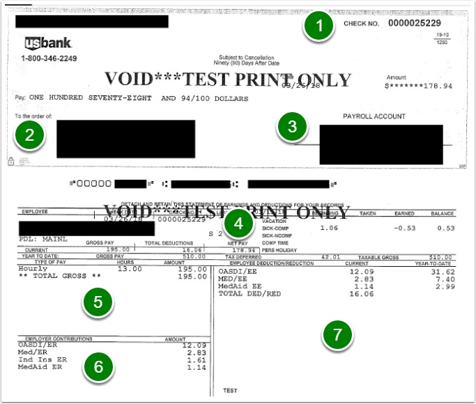 Hard copy paycheck example