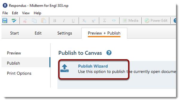 Publish Wizard selected