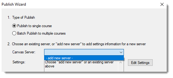 add new server selected