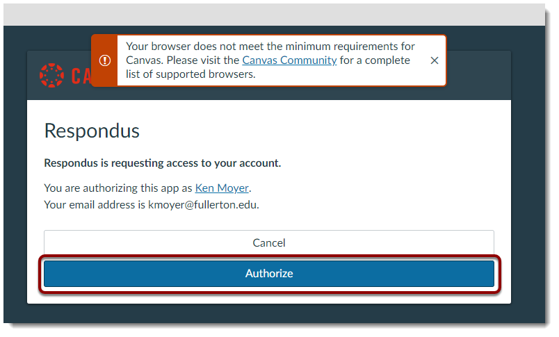 Authorize is selected.