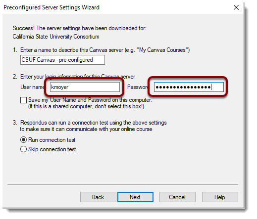Username and password fields selected