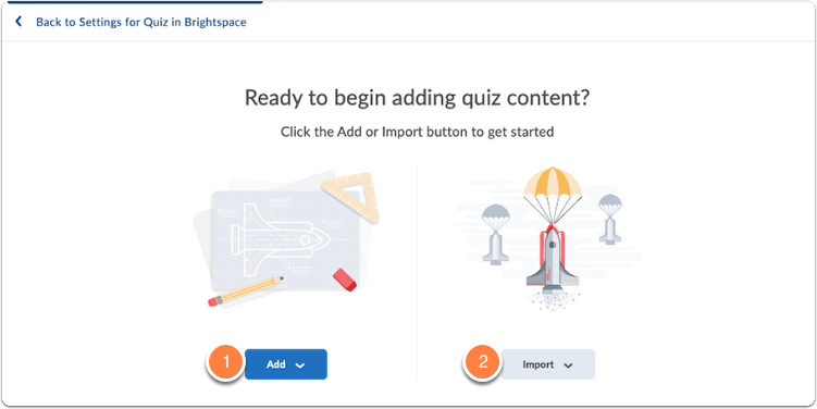 Quiz question creator opens with buttons Add and Import