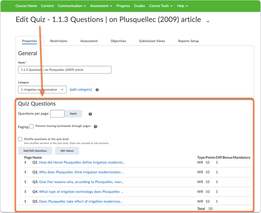 This will open the quiz settings page. Here scroll to the section Quiz Questions: