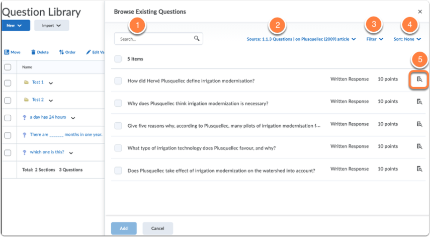 Browse Existing Questions sidebar explanation