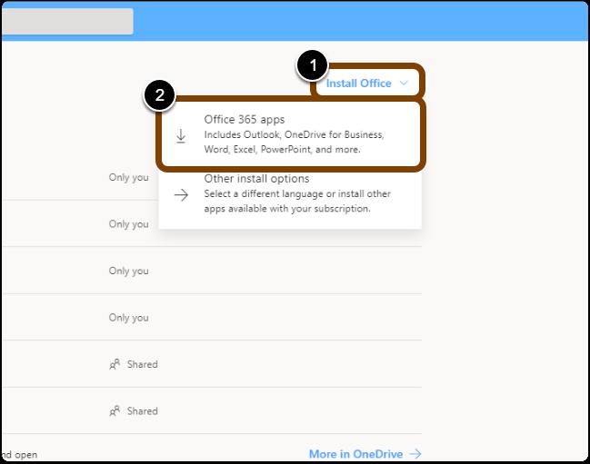 Install Office 2016 screen