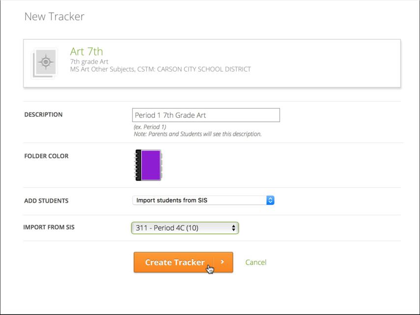 Enter Tracker Details
