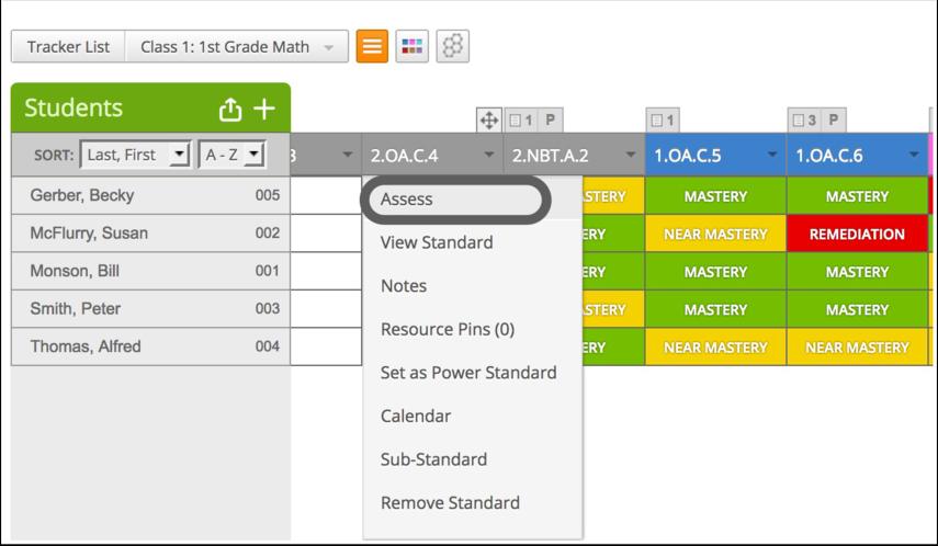 Select Standard for Assessment