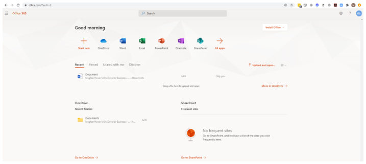 Depicts Office 365 account page