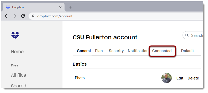 Connected tab selected