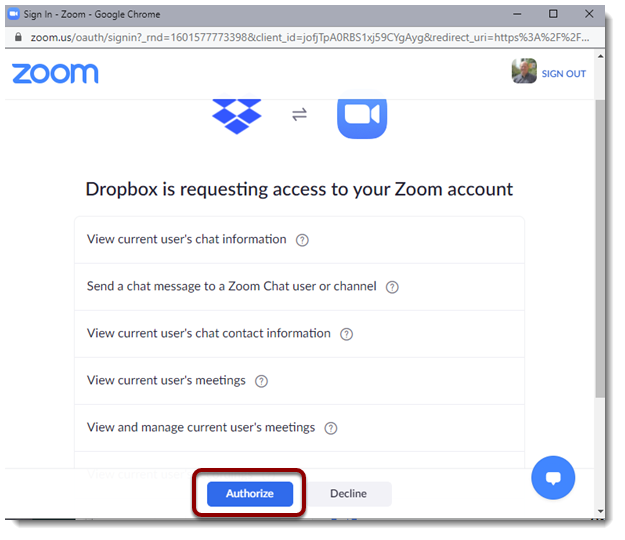 Authorize button selected