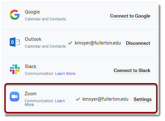 Zoom shown as connected