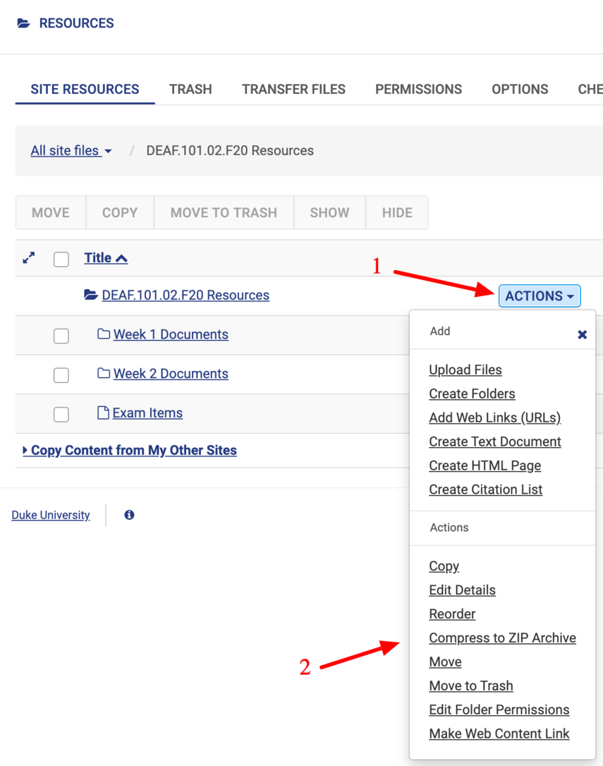 Arrows pointing to Actions button and Compress to ZIP archive link