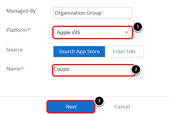 Coupa tutorial: Define search parameters
