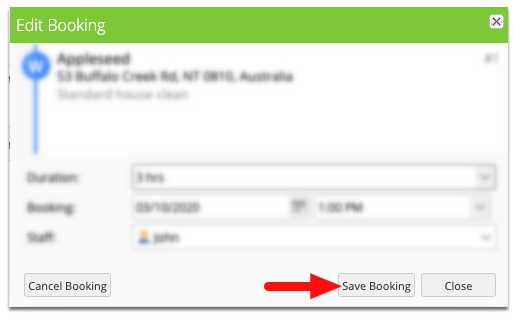 Click Save Booking to save changes