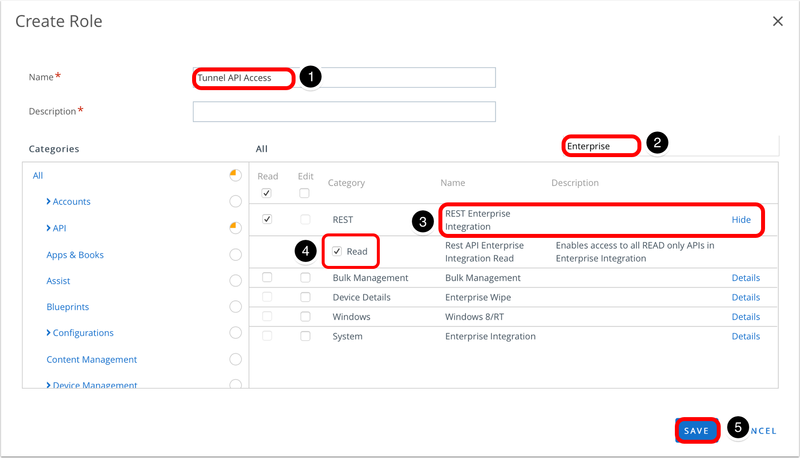 Set the API role permissions in the Workspace ONE UEM admin console.