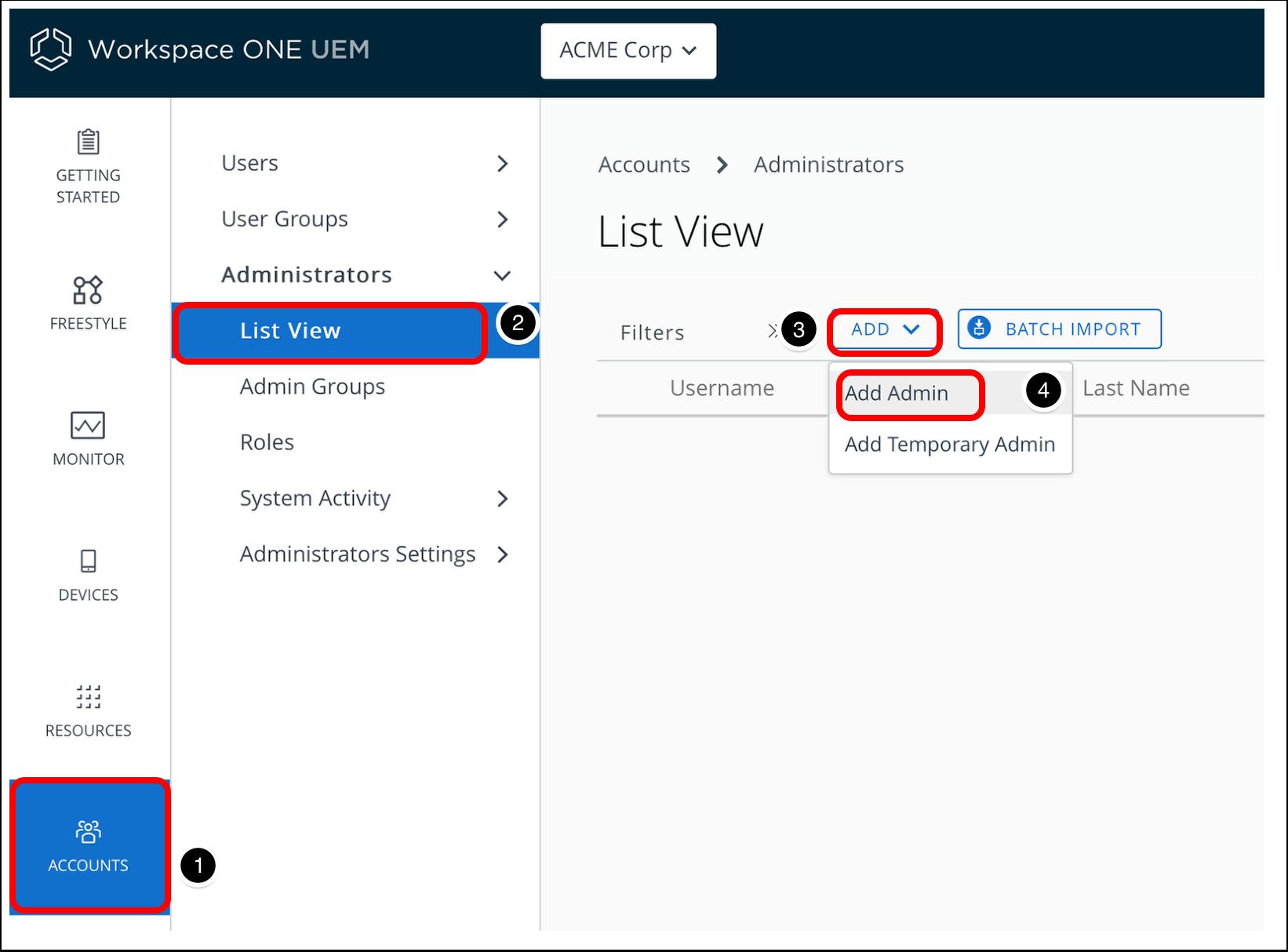 Add API Admin account in the Workspace ONE UEM admin console.