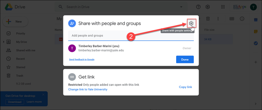 Open the settings for sharing by clicking the gear icon.