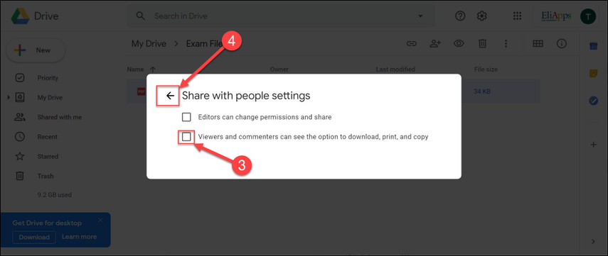 Deselect the option for download, print, and copy.