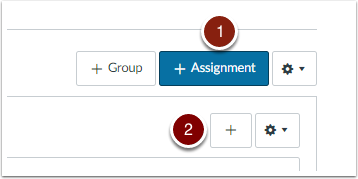 Assignment Page highlighting +Assignment button and + button.