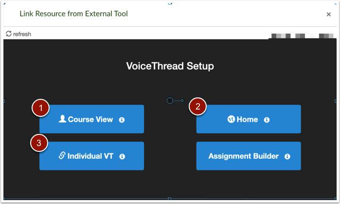 Voicethread set up page, buttons linking to course view, home, and individual vt.