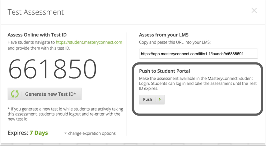 Send Assessment to Portal