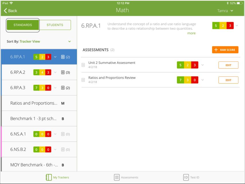 Standards Screen