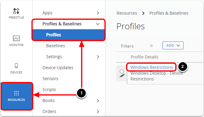 Navigate to the Restrictions profile to help with Windows troubleshooting.