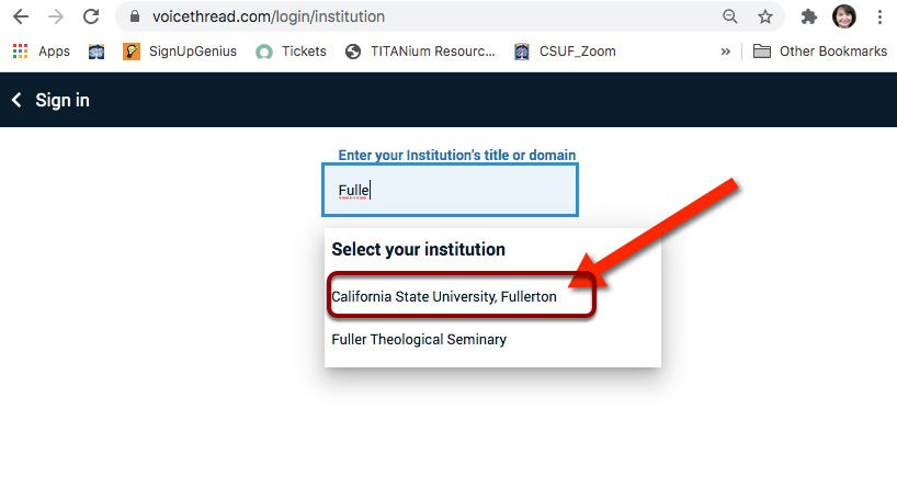 Enter your institution's tittle or domain dropdown
