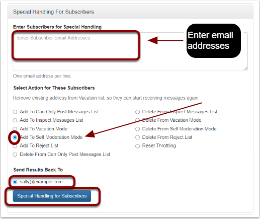"Click on ""Manage Subscribers"" at https://database.mail-list.com:"