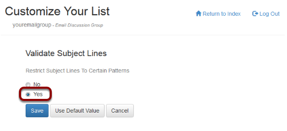 Turn Validate Subject Lines option on