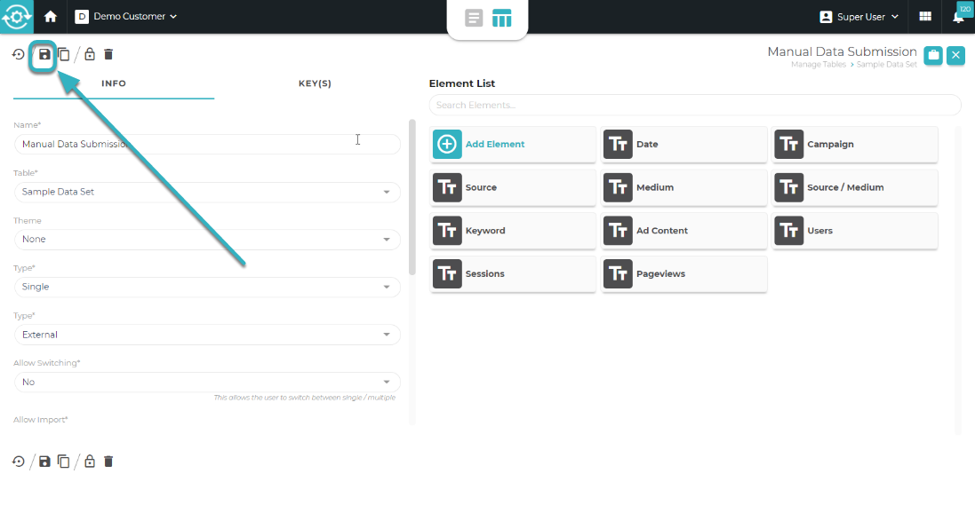 The edit form modal opens to make any changes to the form. Click Save when finished.
