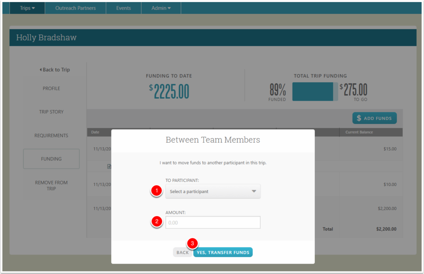Transferring Funds to a Team Member