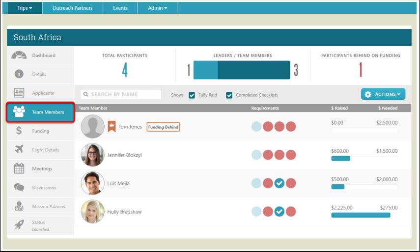 Access the Team Members Screen