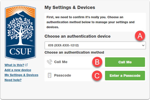 My Settings authenticate