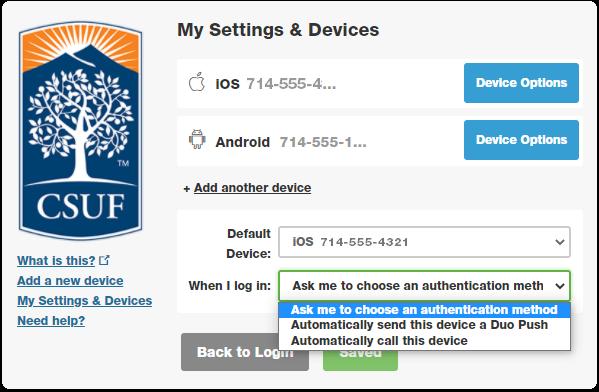 choose authentication options