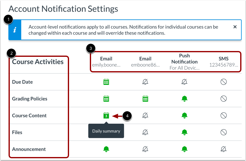 View Account Notification Settings