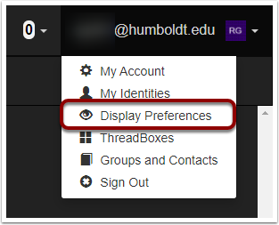 "In the top right of the screen, click the drop down menu that states your username and click ""Display Preferences>"""