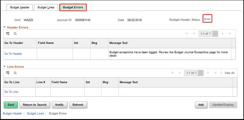 Error link on Budget Errors tab