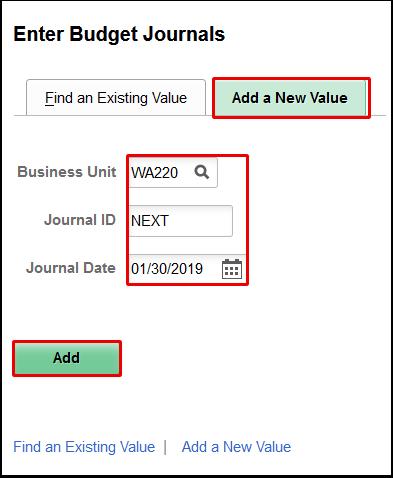 Enter Budget Journals add a new value