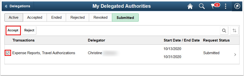 My Delegated Authorities page Submitted tab