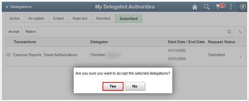 Confirmation box to accept the selected delegations