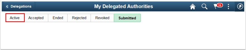 My Delegated Authoriteis page Submitted tab