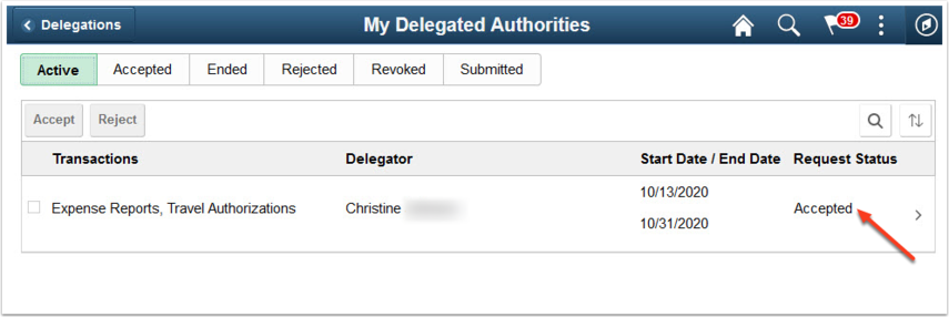My Delegated Authorities Active tab