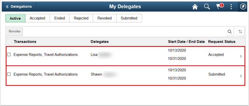 My Delegates page Active tab