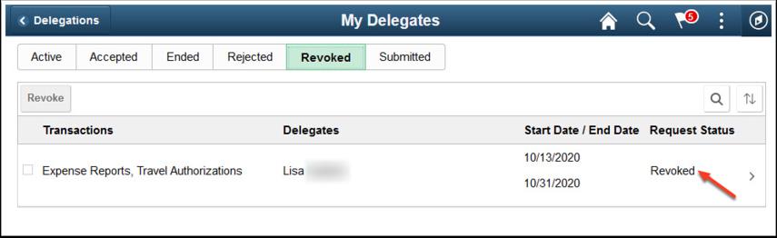 My Delegates Revoked tab