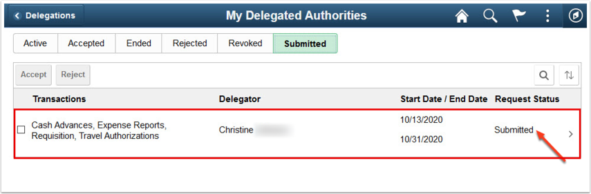 My Delegated Authority Submitted tab