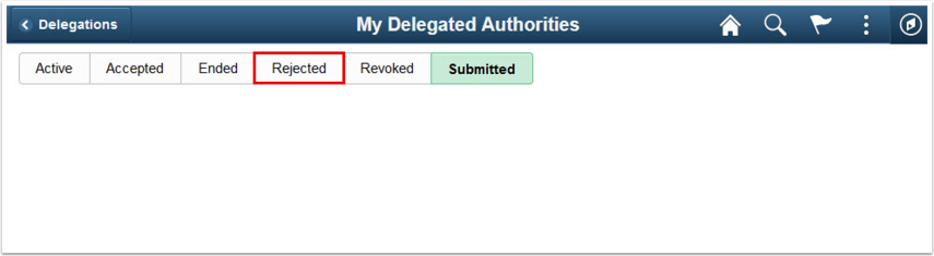 My Delegated Authorities Submitted tab