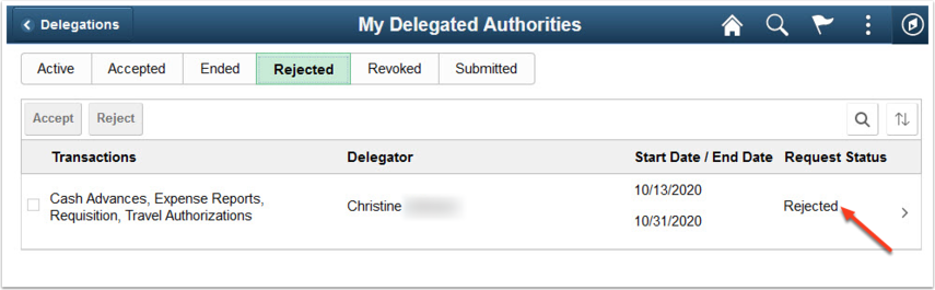 My Delegated Authorities Rejected tab