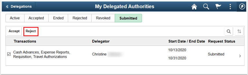 My Delegated Authority page Submitted tab